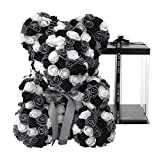 Meosu Rose Bear Rose Flower Teddy Bear,Forever Rose Flower Bear Gift for Women Girlfriend Wife Kids Mothers Day,Valentinesday,Anniversary,Birthdays,Clear Gift Box 10 Inch(Black and White)