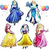 Babioms 5PCS Princesa Globo, Cenicienta, Campana, Blancanieves , Bella Durmiente &Reina de las Nieves, Globos Cumpleaños Decoracion de Princesa