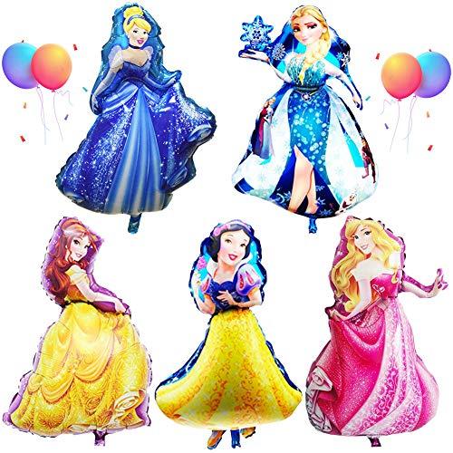 Babioms 5PCS Princesa Globo, Cenicienta, Campana ,Blancanieves ,Bella Durmiente &Reina de las Nieves, Super Globo