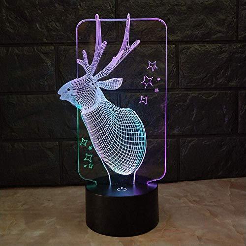 MQJ Lámpara LED de ilusión 3D, luz nocturna, ciervos, decoración de habitación con sensor táctil, funciona con pilas, lámpara de mesa de cumpleaños y regalos para niños