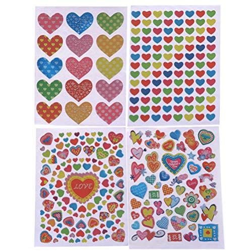 FADACAI Hart Vorm Stickers Label Voor School Kinderen Leraar Beloning DIY Craft 40 Vellen
