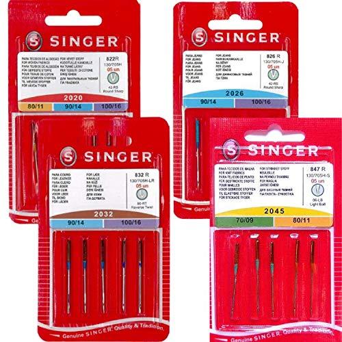 Singer - Lot de 20 Aiguilles Machine à Coudre Super Mix - Universelles 2020 /Jean 2026 /Cuir 2032 /Jersey 2045 - Aiguilles Singer Qualité Premium