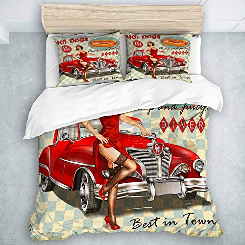 LOSUMIGE - Bedding - Duvet Cover Set, Diner Hot Dog Vintage Pin Up Girl Retro Car 1950S Cozy, Microfibre Duvet Cover Set,Double Size(200 * 200cm)