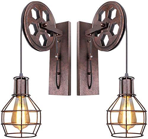 Conjunto de 2 estilo de la pared Luces industriales, metal retro Lámparas de pared Polea Diseño accesorios de pared de luz for Corredor Bar Restaurante - Rust