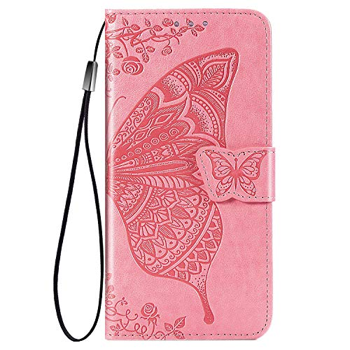 TOPOFU leather Case for LG Velvet 5G, [Kickstand & Card Slots] Premium PU/TPU Flip Case Magnetic Wallet Book Style Full Protection Case for LG Velvet 5G(Pink)
