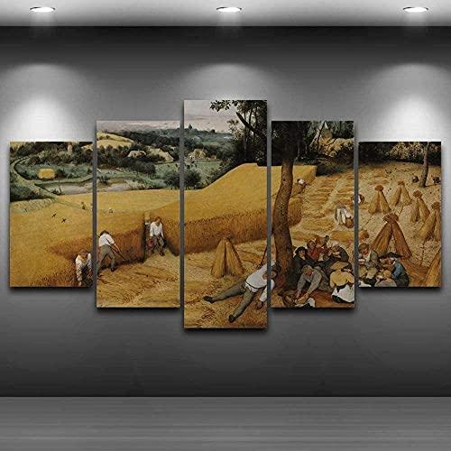 GUOJUNKE Impresiones En Lienzo 5 Paneles De Parte Pared Arte Impresión Lienzo Pintura White Tiger Epic Forest Póster De Habitación Lienzo