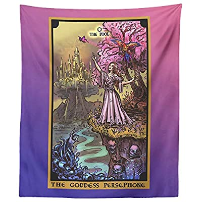 """The Goddess Persephone The Fool Tarot Card Tapestry - Greek Pagan Witchcraft Wall Hanging Home Decor (60"""" x 50"""")"""