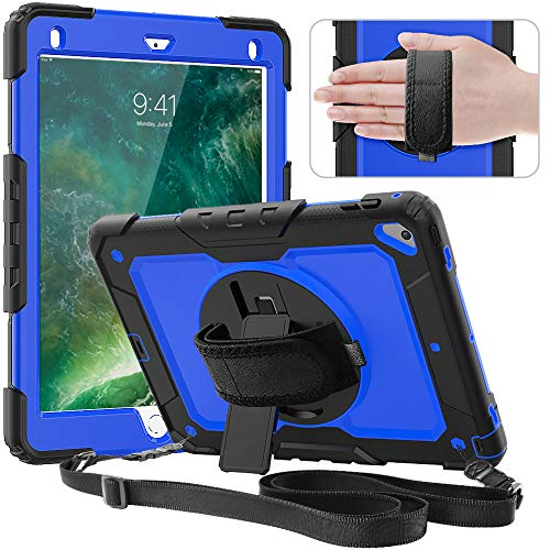 Timecity Case Compatible with iPad 6th/5th Generation,9.7 Inch 2018/2017 Case with Rotating Stand/Strap Full-Body Hybrid Protective Case Replacement for iPad 5th/6th Gen/Air 2/ Pro 9.7 Dark blue