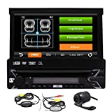 1Din Car Stereo GPS Navigation Automotive Parts Bluetooth Single 1 Din Radio Autoradio GPS in Dash Head Unit with 8GB SD Map Card 7 Inch Capacitive Touchscreen Auto CD DVD Player with Backup Camera