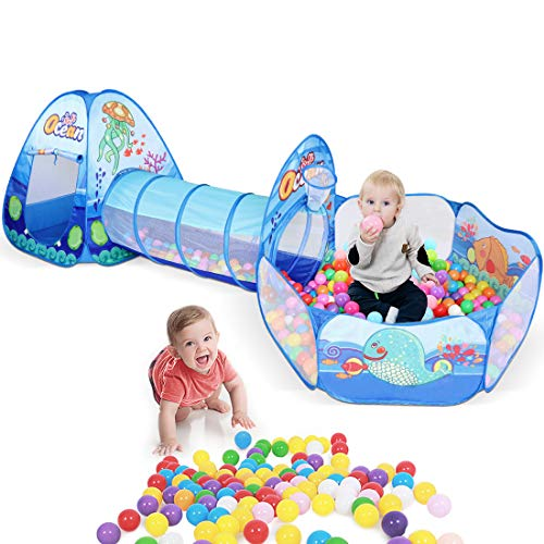 ZNCMRR Kids Play Tunnel Tent Crawl Tunnel & Ball Pit with Basketball Hoop Foldable Ocean Series Tents for Boys Girls Babies Toddlers for Indoor Outdoor Pop-Up Tent