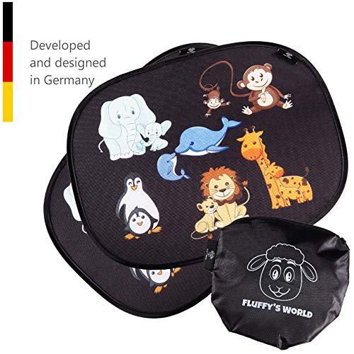 Fluffy\'s World Sonnenschutz Auto Baby mit UV Schutz - Sonnenblende Autofenster für Kinder - inkl. 6 Saugnäpfen und Tasche