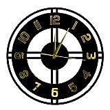 Vintage Legno Acrilico Silenzioso Non-ticing Orologio da Parete Decorativo con Numeri d'oro Toscano Stile Ufficio Casa Arredament
