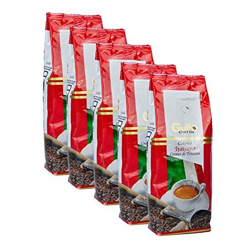 Gullo Caffè Classico Italiano Crema Toscana, 1000g ganze Bohne 5er Pack