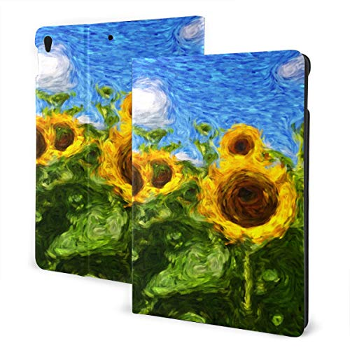 JIUCHUAN Ipad Covers For Girls 2019 Ipad Air3/2017 Ipad Pro 10.5 Inch Case/2019 Ipad 7th 10.2 Inch Case Oil Painting Golden Yellow Sunflower Kid Ipad Case Auto Wake/sleep