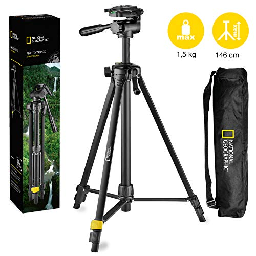National Geographic Photo Tripod Kit Medium, met draagtas, 3-weg kop, Quick Release, 3-sectie benen Hendel sloten, Geared Centre Column, Load up 1,5kg, Aluminium, voor Canon, Nikon, Sony, NGHP000