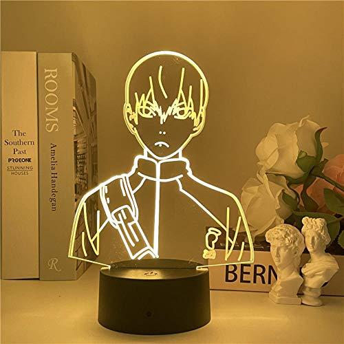 Lámpara de Ilusión 3D Luz de Noche LED Anime Haikyuu Kageyama Tobio Kageyama Lámpara de Mesa USB Creativa para Decoración de Dormitorio Regalo de Cumpleaños para Niños Niñas