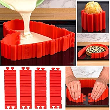 Silicone Cake Molds- Magic Bake Snake- Nonstick and Heat Resistant Reusable BPA-free Food Grade Silicone Cake Pan DIY Baking Mould Tools- 4pcs,Create Any Shape of Cake,Bread, Pizza,Pastry,Muffin