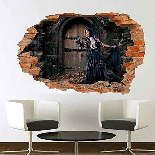 DCJ etiqueta de la pared Antiguo castillo chica cuervo etiqueta de la pared arte efecto 3D cartel calcomanía mural