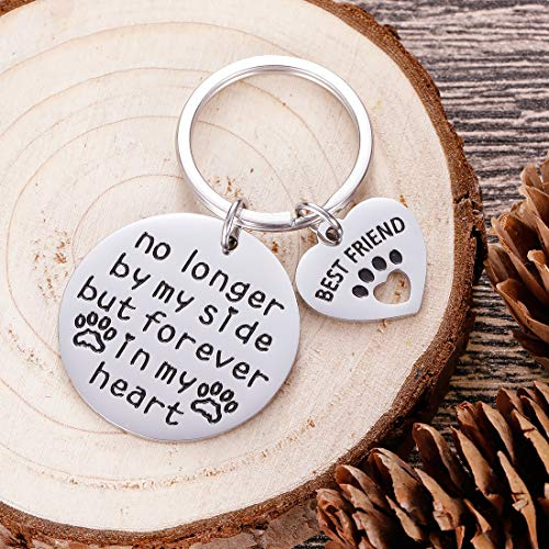Pet Cat Dog Memorial Keychain Gifts for Pet Owner Dog Mom Dad Remembrance Memory Sympathy Gifts for Loss of Dog Pet Loss Gifts Keepsake for Dog Lover Forever in My Heart Paw Print Keyring