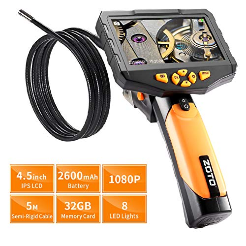 4,5 Zoll Full HD Endoskopkamera, ZOTO 1080P IPS LCD Digitale Hand Industrie Endoskop, 7.6mm Durchmesser Sonde 2600mAh Batterie 32G Speicher DVR Wasserdicht Inspektionskamera (5M)