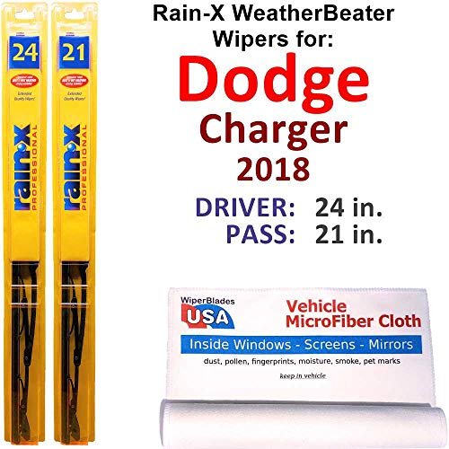 Rain-X WeatherBeater Wiper Blades for 2018 Dodge Charger Set Rain-X WeatherBeater Conventional Blades Wipers Set Bundled with MicroFiber Interior Car Cloth