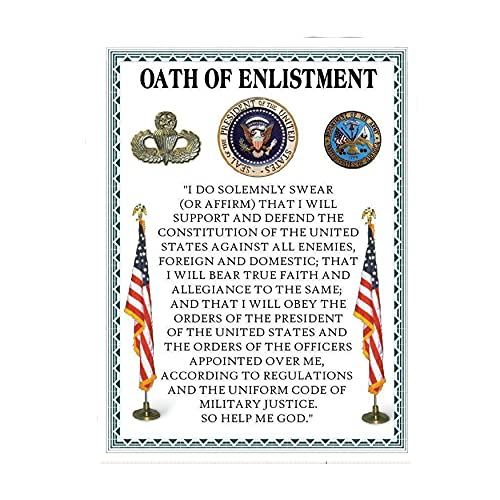 'Oath Of Enlistment'- U. S. Military-Wall Art- 8 x 10'- I Do Solemnly Swear To Defend. Typographic Print-Ready To Frame. Home-Office-Military Decor. Perfect Patriotic Gift for Military Veterans.