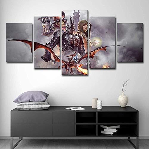 5 Dipinti murali image d'impression haute définition L'image d'arrière-plan de la chambre et l'affiche sont encadrées et prêtes à être installées L'ombra della guerra mondiale della Terra di Mezzo