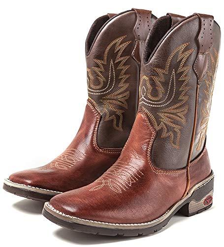 Bota Texana Country Masculina Cano Longo Marrom (37)