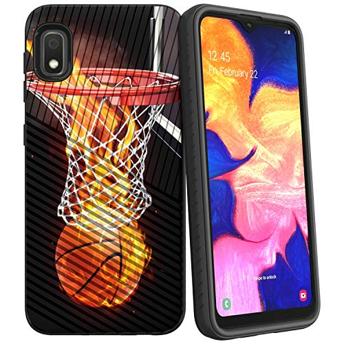 Compatible with Samsung Galaxy A10e / Samsung Galaxy A20e | Textured Lines Embossed Hybrid Hard Plastic Shell TPU Bumper Case by Untouchble - Basketball Fire