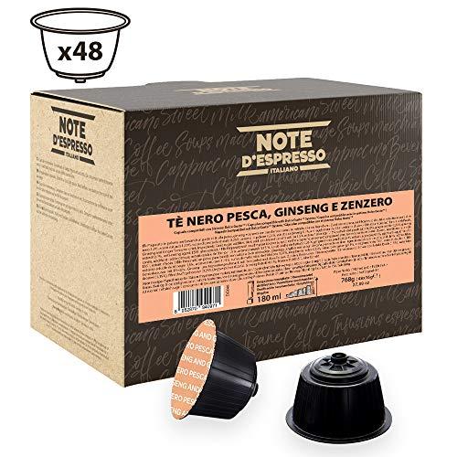 Note D'Espresso - Cápsulas de té negro con melocotón, ginseng y jengibre Exclusivamente Compatibles con cafeteras de cápsulas Nescafé* y Dolce Gusto* 16g (caja de 48 unidades)