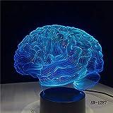 Lámpara de ilusión 3D en forma de cerebro Interruptor táctil con cambio de color 7 Luz de noche LED,lámpara de escritorio de acrílico Atmósfera Iluminación de novedad