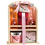 Home Spa Gift Basket - Deluxe Cherry Blossom Fragrance - Luxury Bath & Body Set For Women - Contains Shower Gel, Bubble Bath, Bath Salts, Body Lotion, Bath Puff, Pink Bath Rose Soaps in Wooden Curio