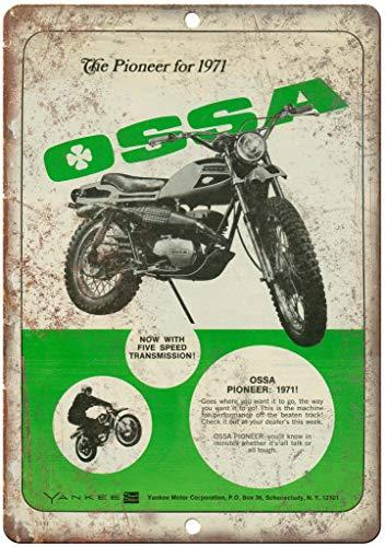 HALEY GAINES OSSA Pioneer Motorcycle Placa Cartel Póster de Pared Metal Vintage Cartel de Chapa Decorativas Hojalata Signo para Bar Café Cocinas Los Baños Garajes 20×30cm
