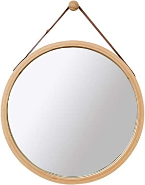 WYAN Wall Round Mirror with Adjustable Faux Leather Hanging Strap Bamboo Framed Bathroom Wall-Mounted Vanity Mirrors Make-up