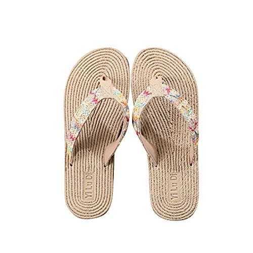 Chanclas Mujer Flip flop Nuevo 2021 Sandalias de paja Verano planas Sandalias de Vestir Playa Chanclas para Mujer Zapatos Sandalias de Punta Abierta Bohemia casual Sandalias Fiesta Cómodo Vacaciones