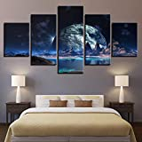 5 Piece Canvas Lienzo Artístico Pintura Sala De Estar Decoración De La Pared Noche Oscura Aldea Global Lago Luna Superficie Espacio Imagen Película Sin Marco