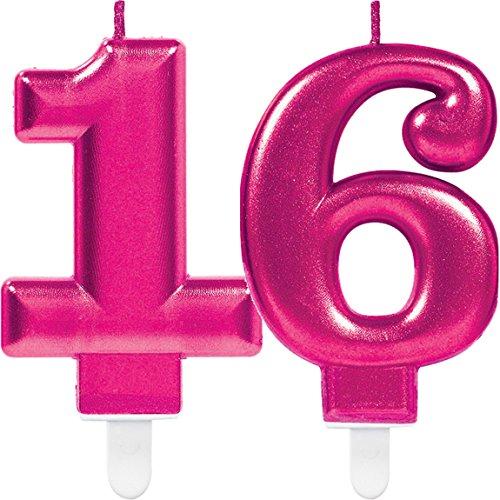 Amscan/Carpeta 2X Zahlenkerzen * Zahl 16 * in PINK // 11cm x 9cm groß // Deko Geburtstag Geburtstagskerze Kerze
