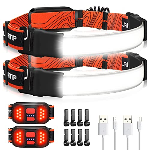 LED Headlamp Flashlight, 1000LM 230°Wide-Beam USB Rechargeable Head Light with Taillight & 8 Clips Waterproof Lightweight, Headlight Headlamps for Running, Cycling and Camping