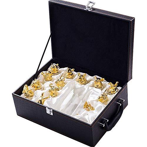 GU YONG TAO Ensemble de distributeurs Chinois 12 Zodiac Spirit Glass - Verre Cristal Clair sans Plomb, Comprend 12 Tasses, Decante en Forme de Dragon pour la fête, Cadeaux