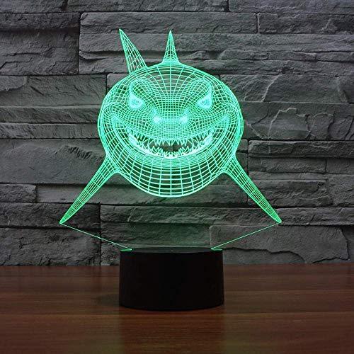 Lámpara de ilusión 3D Luz de noche LED Super Shark 7 colores cambiantes Lámpara de mesa El mejor regalo de vacaciones de cumpleaños para niños