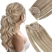 VeSunny Highlight Ponytail Extension Human Hair #16 Dark Blonde Highlights #22 Medium Blonde Clip in Ponytail Hair Piece Straight Wrap Human Hair 16inch 80g/set