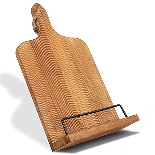 AerWo Cookbook Stand for Kitchen Counter, Rustic Adjustable Recipe Book Holder, Portable iPad Tablet Book Stand with Anti-Slip Kickstand, Wood Cutting Board Style Cook Book Stands for Display