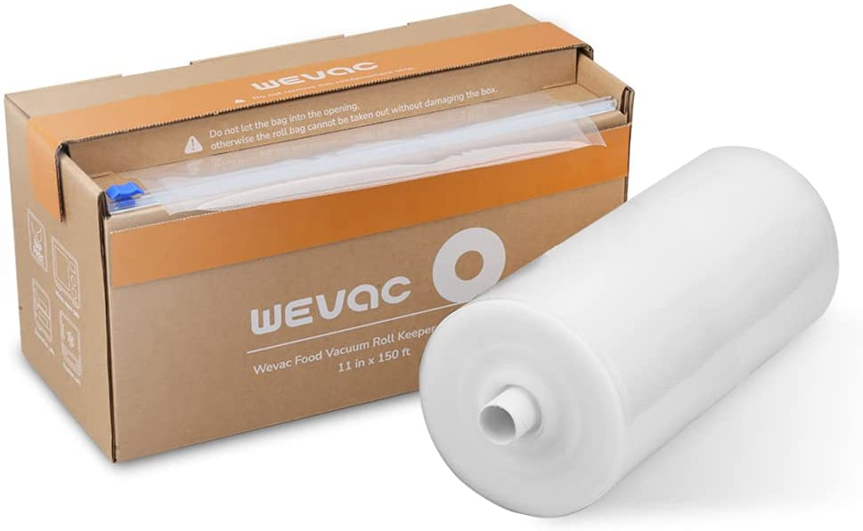 """Wevac 11"""" x 150' Food Vacuum Seal Roll Keeper with Cutter, Ideal Vacuum Sealer Bags for Food Saver, BPA Free, Commercial Grade, Great for Storage, Meal prep and Sous Vide"""