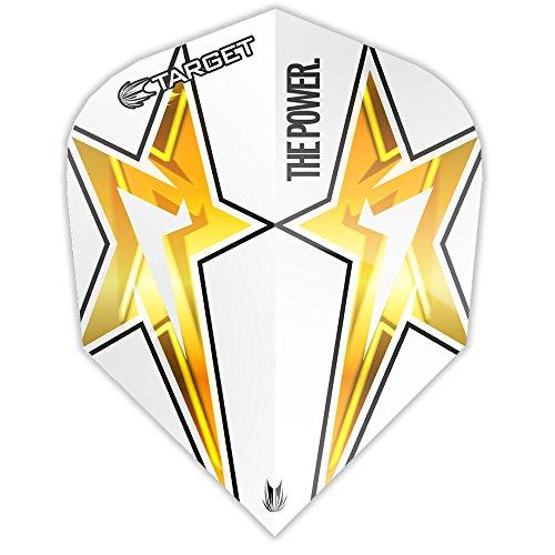 Phil Taylor Dart Flights, Power Star–G3–STD weiß–10Sets (30)–mit Darts Ecke Checkout-Karte