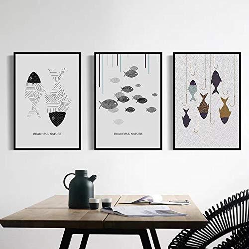 NFXOC Pintura nórdica en Lienzo (Arte de Pared), Carteles Impresos, Imagen Moderna, pez Minimalista para Comedor, decoración del hogar, Pintura (30x50 cm), 3 Piezas sin Marco