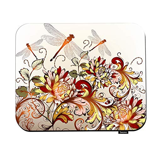 Swono Flower Mouse Pads Beautiful Floral Background with Colorful Ornament and Flying Dragonfly Mouse Pad for Laptop Funny Non-Slip Gaming Mouse Pad for Office Home Travel Mouse Mat 7.9'X9.5'