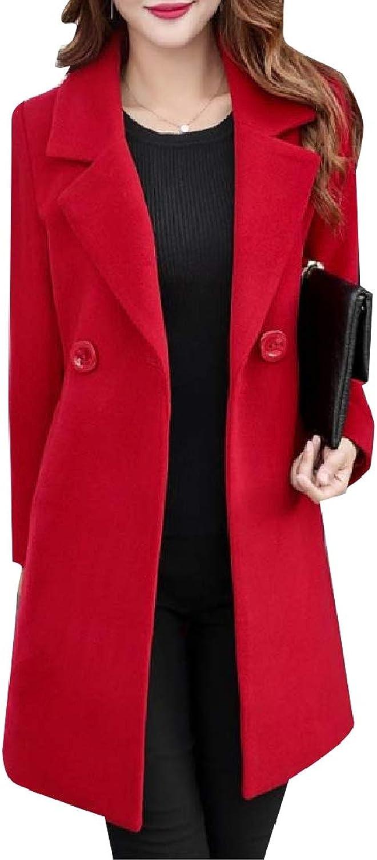 Winme Women's Button Down Fleece Wool Blend Notch Lapel Tops Outwear