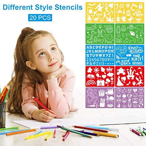 20 stuks tekensjablonen voor kinderen, wasbare Craft Bullet Journal-sjablonen, meer dan 300 verschillende patronen voor het tekenen van vindingrijkere kinderverhalen