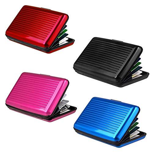 Kreditkartenetui Aus Aluminium, RFID Blocking Kreditkartenhülle Metall Kreditkartenetui Kreditkarten Personalausweis EC-Karten Kartenhülle für Damen und Herren 4pcs