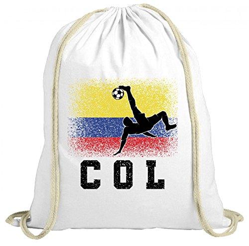 ShirtStreet Kolumbien Fußball WM Fanfest Gruppen Fan natur Turnbeutel Rucksack Gymsac Colombia Football Player, Größe: onesize,weiß natur